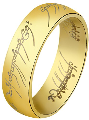 (The One Ring: Yellow Gold Finish Stainless Steel, Size)