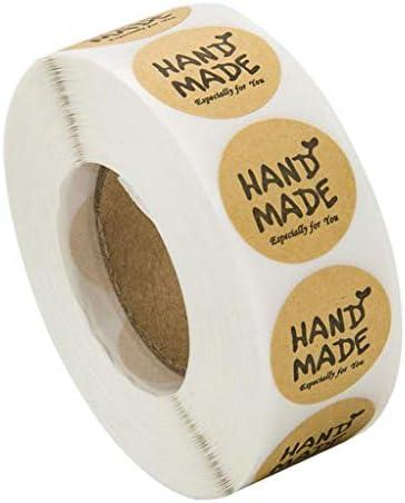 P Prettyia 500 Stück Roll in Kraftpapier Aufkleber Rund Natur Kraft Handmade Sticker für Backen Geschenktüten Hochzeit Thanksgiving