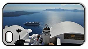 Hipster custom made iPhone 4 cover santorini greece PC Black for Apple iPhone 4/4S