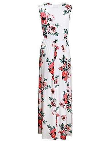 Minetom Mujeres Verano Casual Elegante Sin Tirantes Vestidos Largo de Envuelto Pecho Con Florales Impresa Vestido Coctel Playa Fiesta Flor 9