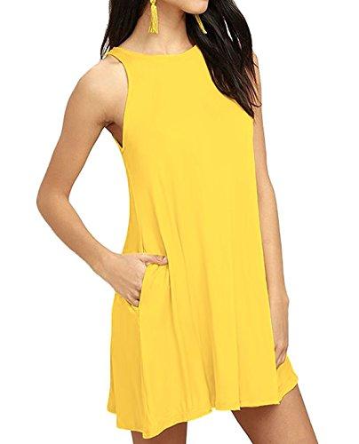 T Mathews yellow Women's A1 Swing Casual Dress Neck Halter Loose Shirt Sleeveless Sarin d067wd