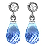 ALARRI 2.73 CTW 14K Solid White Gold Earrings Diamond Blue Topaz