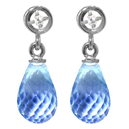 ALARRI 2.73 CTW 14K Solid White Gold Earrings Diamond Blue Topaz by ALARRI