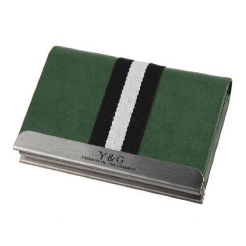 (Y&G YDC02A04 Dark Green Presents Idea for Xmas Day Leather Elastic Card Case)