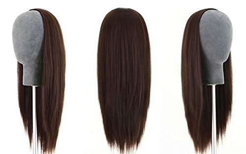 100% Indian Remy Human Hair Silky 3/4 Half Wig Straight Hair Weft Cap 300g (30 inches, #1 Jet Black) by AndyHair
