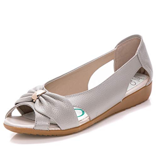 - Summer Leather Ladies Sandals Women Cow Leather Hollow Flat Bowknot Butterfly-Knot Metal Woman Sandals Beige