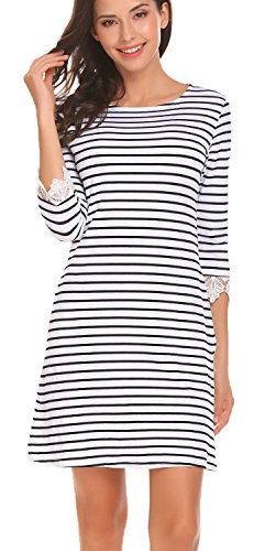 3/4 sleeve black and white dress - 4
