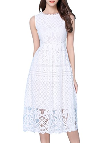 VEIISAR Women Stylish Floral Lace Sleeveless Scoop Neck Flare Dress White L