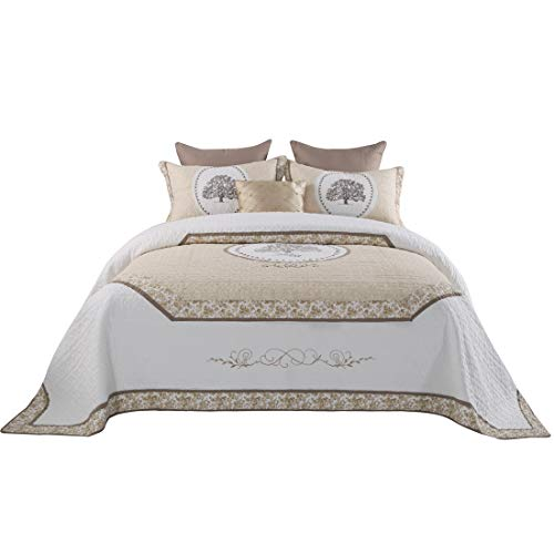 Jameswish Life Tree Quilt Set Luxury Euro Quilted Bedspread 100% Cotton 3PC Coverlet Set Classic Palace Style Bed Cover Set Embroidered Patchwork Quilt Bedding Set Queen Size ()