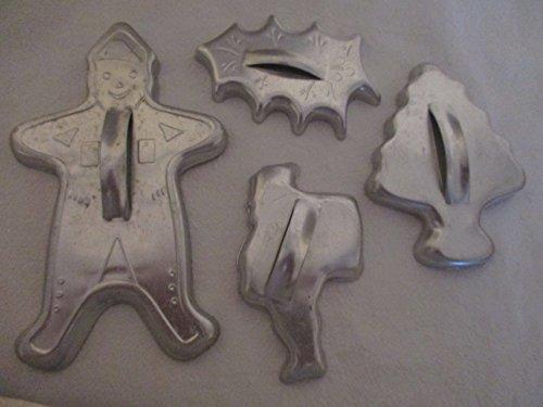 Vintage Cookie Cutters--Gingerbread Man, Christmas Tree, Santa, - Cookie Vintage Cutters