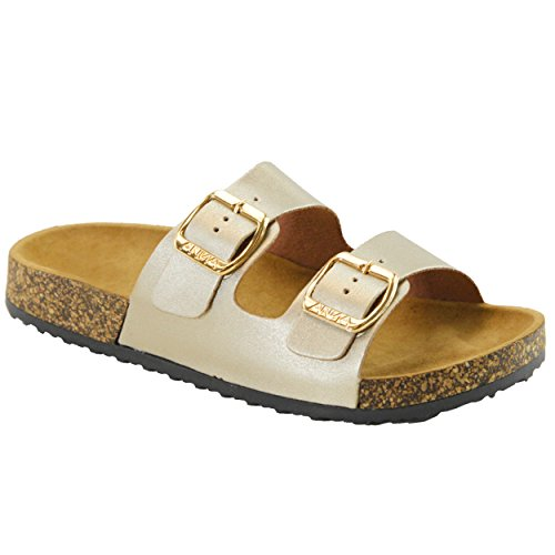 (Women's Casual Buckle Double Strap Platform Footbed Flat Sandals)
