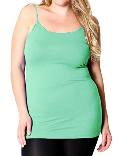 Belle Donne - Women's Plus Size Stretch Camisole Spaghetti Strap- Mint /3X-Large (Camisoles Mint)