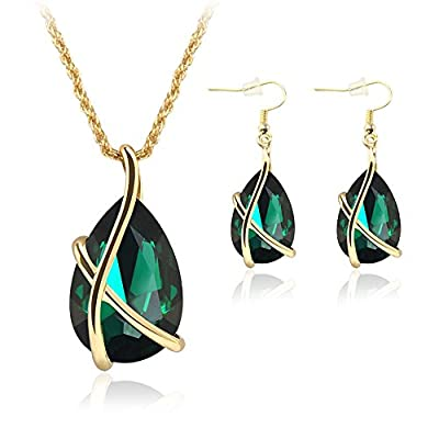 Crystals Teardrop Earrings Pendant 18K Yellow Gold Filled Two Piece Jewelry Sets for Mother's Day Gifts