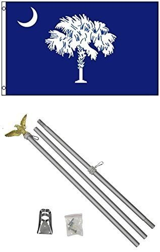 ALBATROS 2 ft x 3 ft 2x3 State of South Carolina Blue Flag Aluminum with Pole Kit Set for Home and Parades, Official Party, All Weather Indoors Outdoors