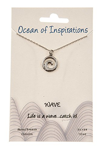 Shag Wear Ocean of Inspirations Quote Pendant Necklace (Wave Pendant)