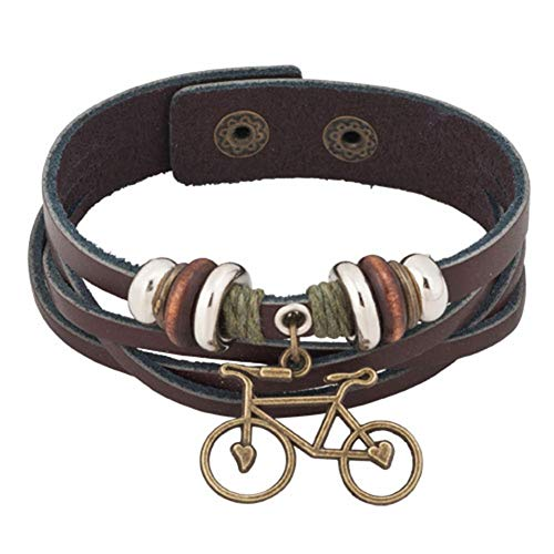 Moonlight Collections Snap Cuff Cycling Rustic Leather Multi Layer Strand Bicycle Fashion Bangle Bracelet