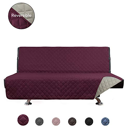 - PureFit Reversible Quilted Armless Sofa Cover, Water Resistant Slipcover Furniture Protector, Washable Couch Cover with Adjustable Straps for Kids, Dogs, Pets (Futon, Wine/Beige)