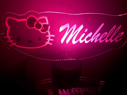 Personalized Hello Kitty (Hello Kitty Light Up Lamp LED Personalized Hello Kitty with Script Name Light Engraved Table Lamp, Our Newest Feature - It's Wow, with Remote, 16 Color Options, Dimmer, Free Engraved,)