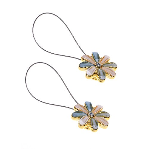 CM Cosmos 2 Pairs Magnetic Flower Curtain Clips Tiebacks Holdbacks (Light Blue)