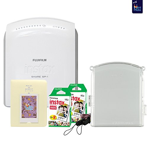 Fujifilm instax SHARE SP-1 Smartphone Printer With Fujifilm instax Mini Twin Pack Instant Film (40 Sheets) + Fashionable Photo Album + Custom Case (clear) by MiniMate