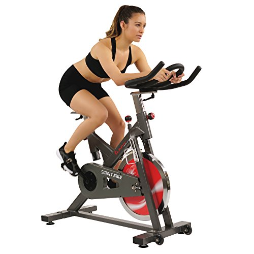 Sunny Health & Fitness Belt Drive Indoor Cycling Bike - 44 lb Flywheel, Adjustable and Portable Exercise Bicycle