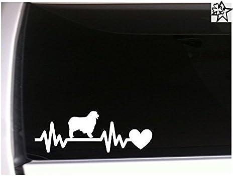 Herzschlag Aufkleber Australian Shepherd 20cm Sticker Herz Fan Hobby Leidenschaft Liebe Für Auto Autoaufkleber Auto