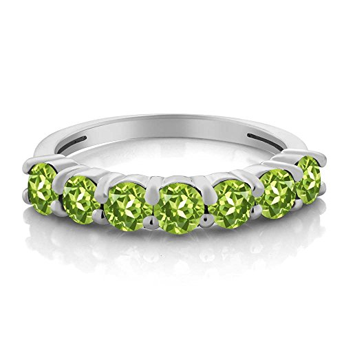 1.26 Ct Round Green Peridot 925 Sterling Silver Anniversary Ring by Gem Stone King (Image #1)