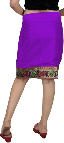 Floral nbsp;de Exotic Border nbsp;– India Plain Patch Pencil Woven Violeta 1 De Skirt With Mano B8ARBq1w