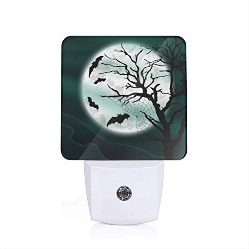 (VASYLLAPTIEV Led Night Light Halloween Night Moon Bat Auto Senor Dusk to Dawn Night Light for Bedroom Bathroom US/UK/EU)