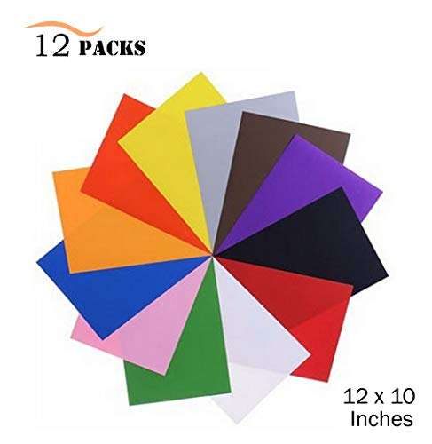 12 Pack Heat Transfer Vinyl Sheets, UNODE 12 X 10 Inches 12 Assorted Colors Heat Transfer Bundle Iron HTV DIY T-Shirt/Hat for Silhouette Cameo/Cricut/Heat Machine Tool/Other Craft Cutters by UNODE