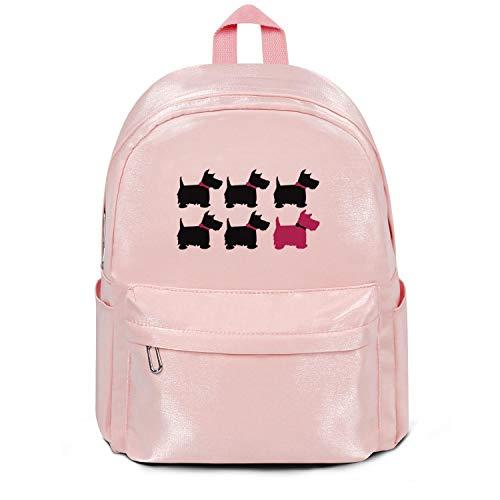Heart Wolf Womens Girl Boys College Bookbag Scotty Dog Casual Nylon Durable Travel Daypack Backpack College Bookbag Pink ()
