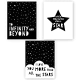Andaz Press Unframed Kids Baby Nursery Room Wall Art, Black and White Scandinavian, To Infinity and Beyond, When You Wish Upon a Star, I Love You More Than All the Stars, 3-Pack, Frame Sold Separately