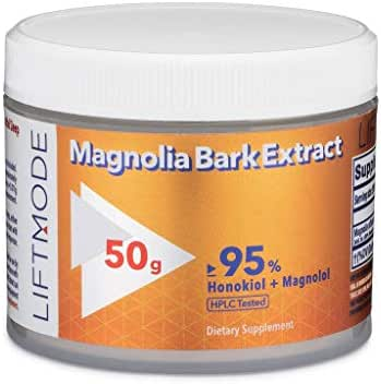 LiftMode Magnolia Bark Extract Powder Supplement - Better Health, Reduce Anxiety, Lower Cortisol Levels, Honokiol & Magnolol | Vegetarian, Vegan, Non-GMO, Gluten Free - 50 Grams (250 Servings)