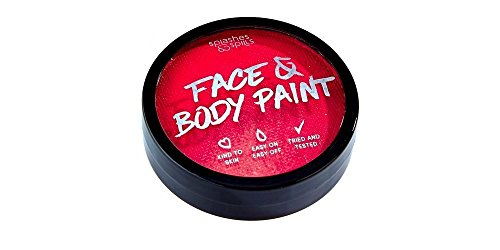 Face and Body Paint Cream - Red, 18g Cake Tub - Pretend Costume and Dress Up Makeup by Splashes & (Red Body Paint)