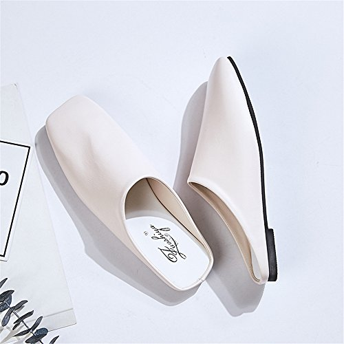 Toe pit4tk Casual Pointed Lady White Slippers Flat Women Shallow Shoes Bowknot Mules Fashion Slides 8n8rq6a7w