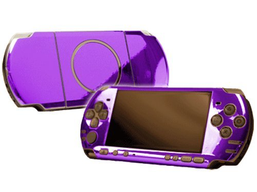 Sony PlayStation Portable 3000 (PSP-3000) Skin - NEW - PURPLE CHROME MIRROR system skins faceplate decal mod