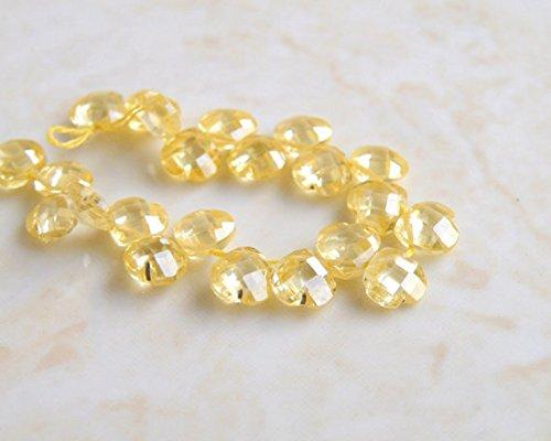(Lemon Yellow Cubic Zirconia CZ Heart Briolette top Drilled 5mm 21 Beads )