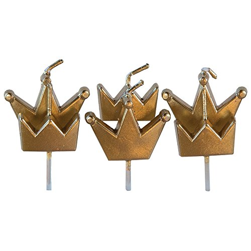 Crown Candle - Design Design Gold Crowns Birthday Candle, Multicolor
