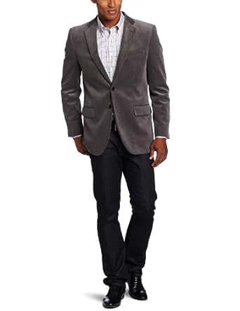 Joseph Abboud Men's 2 Button Side Vent Corduroy Coat,  Grey, 48 L