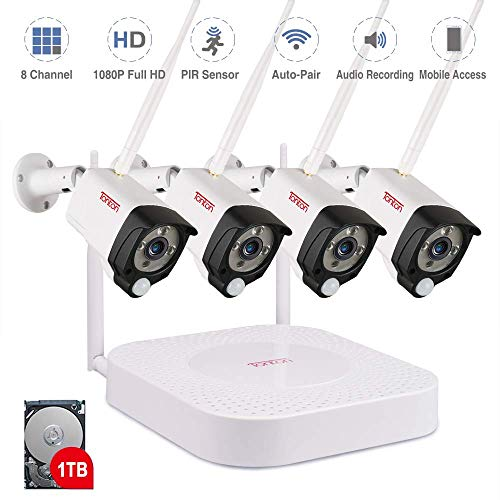 Tonton 1080P Full HD Wireless Security Camera System,8CH NVR Recorder with 1TB HDD and 4PCS 2.0 MP Waterproof Outdoor Indoor Bullet Cameras with PIR Sensor and Audio Recording,Pre-Alarm Record
