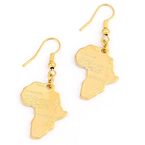 Big Size Crystal Africa Map Pendant Necklace Women Girl 24K Gold Plated African Map Hiphop Item (Gold Earrings)