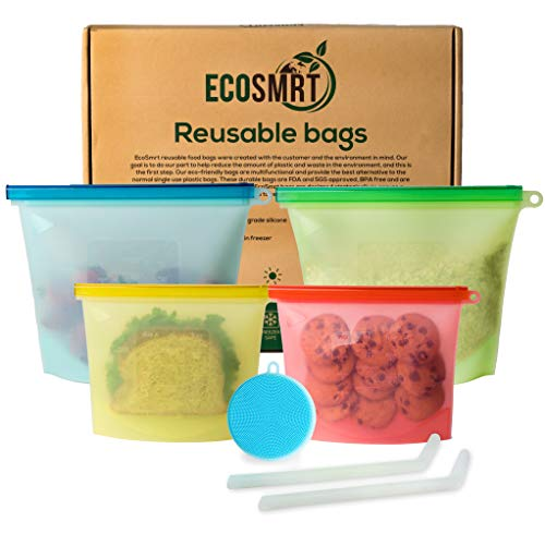 EcoSmrt Silicone Food Storage Bag (4) + 2 Silicone Straws & Scrubber Sponge | Reusable Ziploc Bags (2 Sizes) Eco-Friendly Leakproof Freezer Safe | Zero Waste Sandwich Snack Food Bag