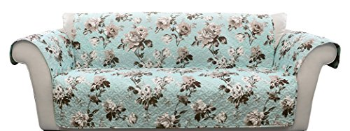 Lush Decor Tania Floral Furniture Protector, Loveseat, Blue/Gray