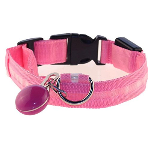 Pet Traction Rope Collar Set Pet Luminous Collar LED Glow Dog Pendant Set(Pink S)
