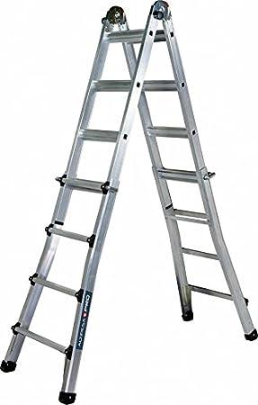 Altipesa 324 Escalera telesc&ampoacutepica de aluminio 4+4 pelda&ampntildeos (EN 131), Standard: Amazon.es: Bricolaje y herramientas