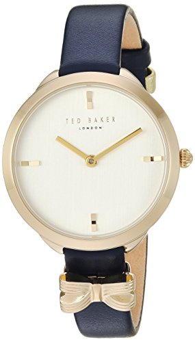 Ted Baker Women's Elana Stainless Steel Quartz Watch with Leather Calfskin Strap, Blue, 10 (Model: ()