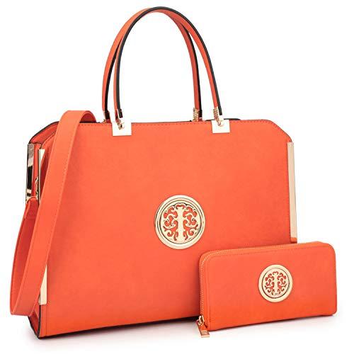 - MMK collection Women Fashion Matching Satchel handbags with wallet~Designer Purse for Women ~Multi Pocket ~ Perfect Women Purse and wallet~ Beautiful Designer Handbag Set (Orange)