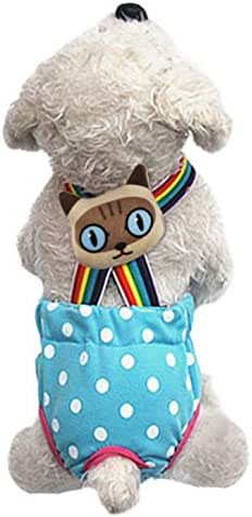 Lovely Rainbow Pet Dog Puppy Teddy Tighten Strap Reusable Diapers Washable Cotton Dog Season Sanitary Physiological Shorts Pants Nappies Nursing Hygiene Pantie Underwear for Small Girl Female Dogs