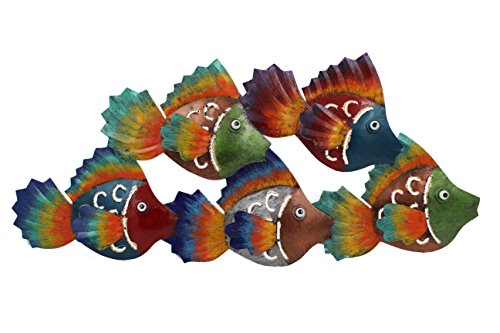 (Handcrafted Colorful School of Fish Metal Wall Sculpture )