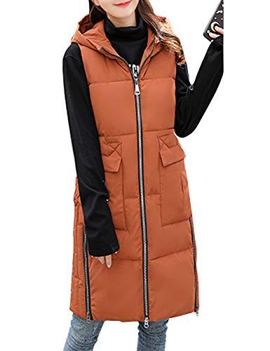 Maniche Giacca Donna Autunno Senza Vest Coffee Outdoor Per Gilet Zhhlaixing Waistcoat Giacche Piumino Ultraleggeri Inverno Bodywarmer Lunga Ladies HOxCnqpxw7